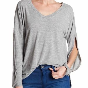 Thyme & Honey Women's Large Shirt Top Stripe Gray